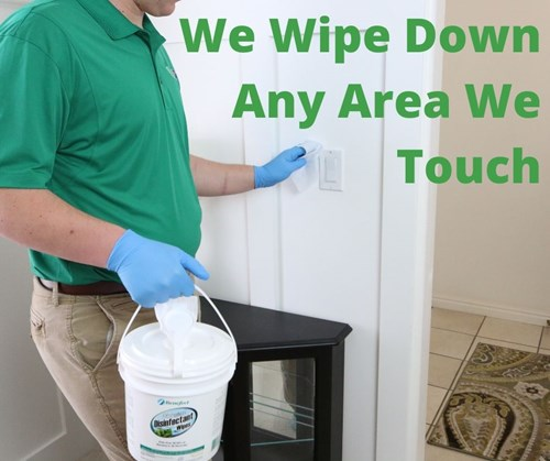 We wipe down any area we touch during carpet cleaning