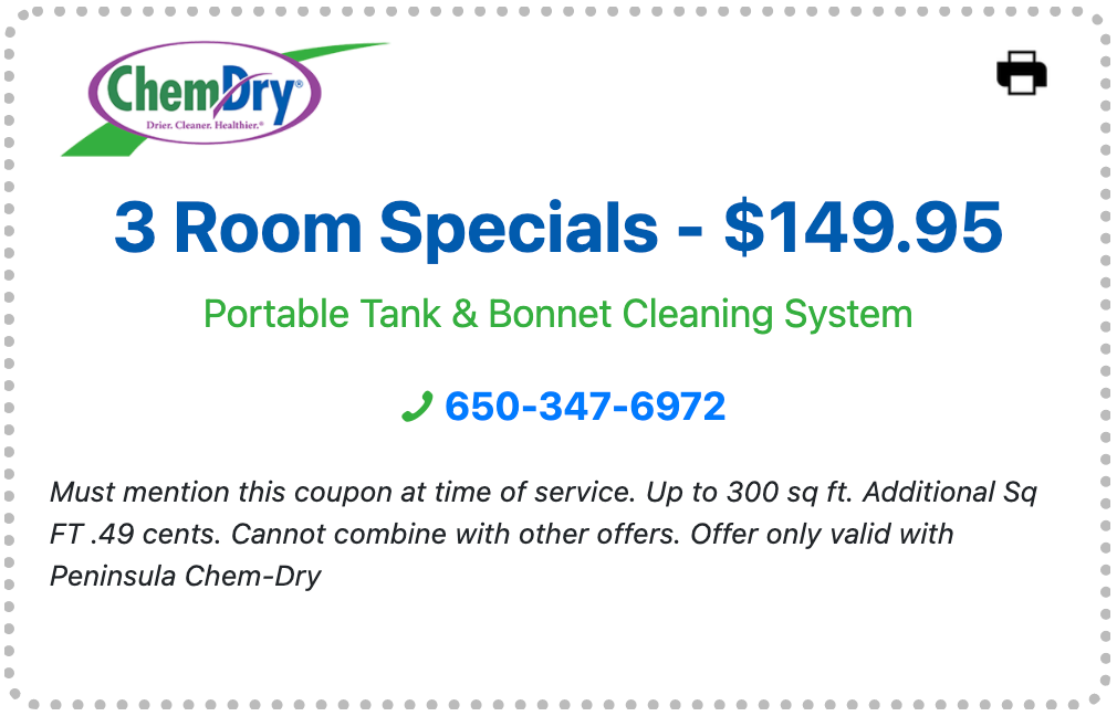 carpet cleaning for three rooms for only $149.95